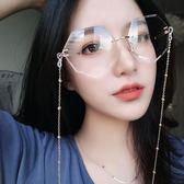 網紅街拍鏈條墨鏡女2018新款韓版潮近視防紫外線太陽眼鏡平光鏡