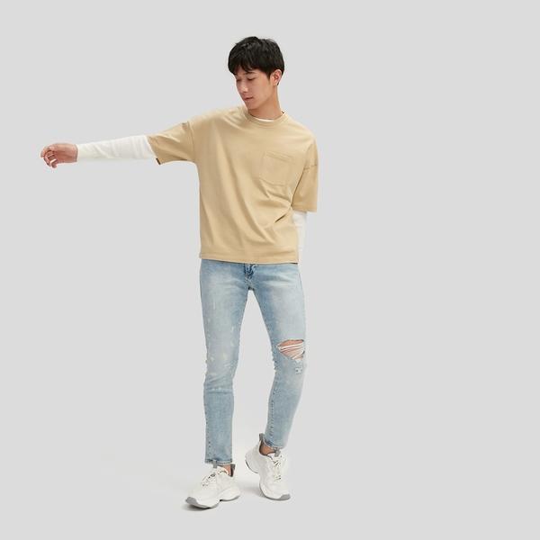 Gap男裝 純棉基本款圓領短袖T恤 699888-駝色