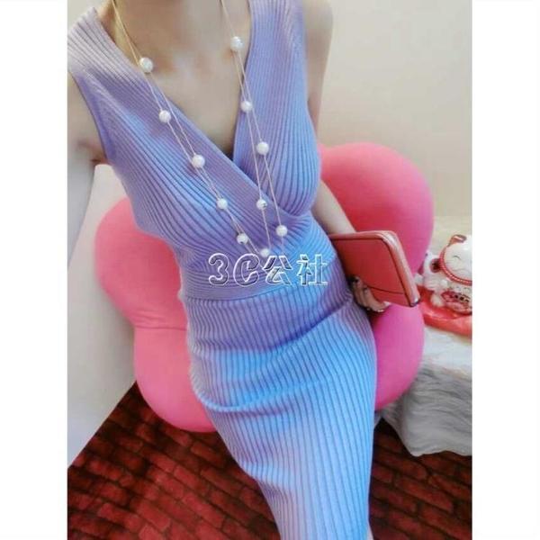 春夏新款韓版歐美交叉無袖性感夜店深V領修身針織包臀打底洋裝