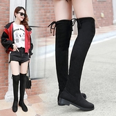 長靴 不掉筒過膝長靴高跟女顯瘦彈力布加絨冬平底靴子長筒靴5050小辣椒 交換禮物