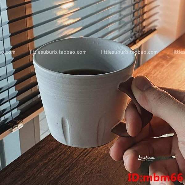 日式粗陶拿鐵卡布咖啡杯 復古風 原礦瓷土手柄 美式咖啡杯 340ML
