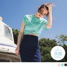 《KS0855-》圓弧衣襬環保涼感微短版上衣 OB嚴選