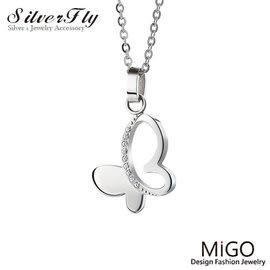 《 SilverFly銀火蟲銀飾 》【MiGO】優雅白鋼項鍊/蝴蝶