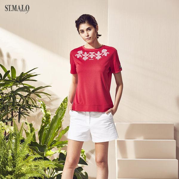 【ST.MALO】台灣製精刻瓷繪咖啡紗女上衣-1840WT-紅繪