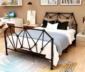 歐式現代簡約鐵藝床1.8米1.5米雙人床1.2米單人床鐵架床金屬床