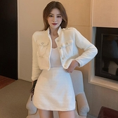 歐媛韓版 兩件式洋裝 秋冬韓版名媛OL氣質粗花呢鑲鉆短款夾克外套高腰半身裙女神範套裝