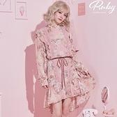 洋裝 露比設計‧鉤花荷葉前短後長印花長袖洋裝-Ruby s 露比午茶