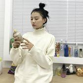 韓版寬鬆時尚套頭花瓣捲邊長袖針織衫