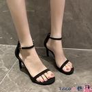 熱賣高跟涼鞋 高跟鞋2021年新款女夏季中跟黑色一字扣帶網紅細跟涼鞋仙女風百搭 coco