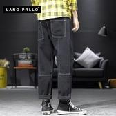 秋季新款牛仔褲男士潮牌寬鬆直筒韓版潮流男生黑色百搭闊腿褲 布衣潮人