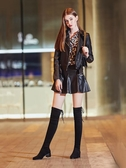新品過膝靴女小辣椒長筒靴粗跟冬性感中跟彈力靴平底5050高筒長靴子高跟鞋推薦LD