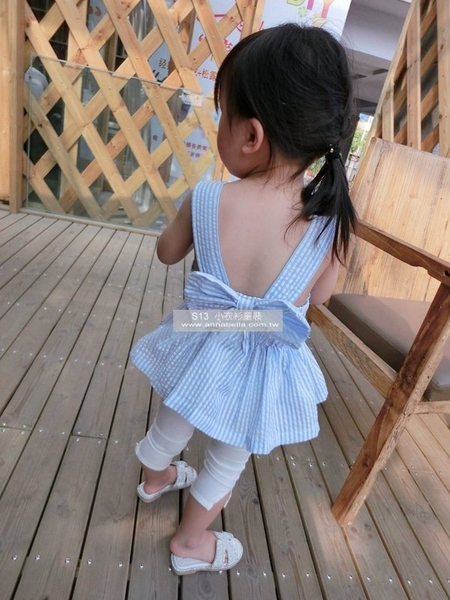 *╮S13小衣衫╭*露背蝴蝶結條紋背心裙上衣 1050703