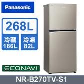 ↙贈安裝/0利率↙Panasonic國際牌268L 1級能效 ECO智慧節能 變頻雙門冰箱NR-B270TV-S1【南霸天電器百貨】