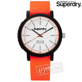 Superdry 極度乾燥 / SYG197O / 運動風采舒適橡膠手錶 白x黑框x橘 38mm