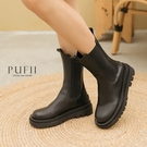 PUFII-靴子 厚底素面帥氣中筒靴子-...