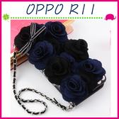 OPPO R11 5.5吋 淑女風皮套 藍黑玫瑰保護殼 側翻手機殼 可插卡保護套 磁扣手機套 掛練