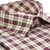 【金‧安德森】經典中紅格限量窄版短袖襯衫
