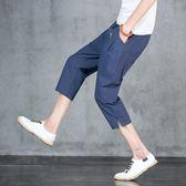 夏季男士刺繡亞麻7七分褲運動短褲寬松棉麻九分褲子 BF443『男人範』