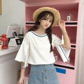 夏季韓版學院風一字領露肩上衣女撞色條紋袖口不規則開叉T恤學生