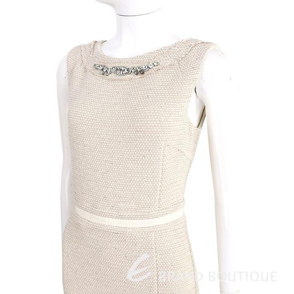 BLUGIRL 卡其色鑽領織紋毛呢無袖洋裝 1620461-28