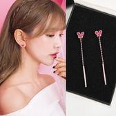 耳環 S925純銀針玫紅水鉆愛心耳釘氣質韓國個性雞心閃鉆長款耳環耳墜 巴黎春天
