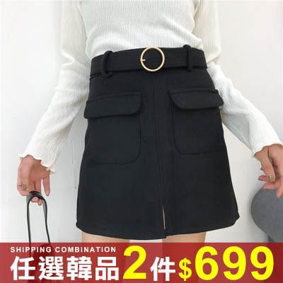 任選2件699短裙高腰顯瘦大口袋開叉毛呢A字裙短裙【08G-I0284】