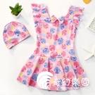 兒童泳衣女女童中大童寶寶連體公主裙式可愛小童嬰兒女孩游泳裝-奇幻樂園
