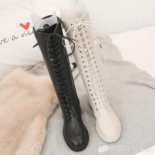 歐美時尚綁帶厚底平底鞋中跟高筒靴馬丁長靴騎士機車米白色女靴子 檸檬衣舎