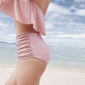 K.J時尚女郎一字肩比基尼性感保守高腰遮肚顯瘦小胸聚攏溫泉泳衣女
