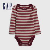 Gap嬰兒 布萊納小熊系列 時尚撞色條紋圓領長袖包屁衣 599832-紅色條紋