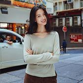 長袖T恤-V領薄款簡約純色百搭女上衣2色73qu20[巴黎精品]