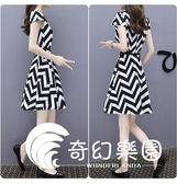 連身裙-新款韓版夏季女裝氣質修身黑白顯瘦條紋連衣裙短袖a字裙-奇幻樂園