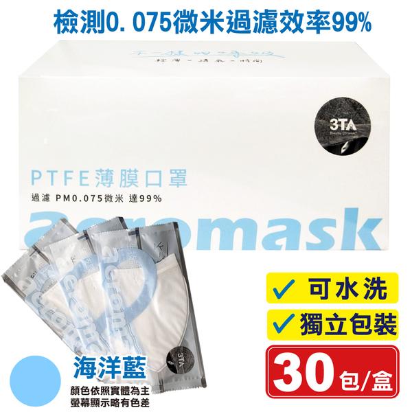 3TA 三達W型奈米生技膜口罩(限量海洋藍) 30入/盒 (可水洗 獨立包裝) 專品藥局【2016184】