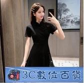 改良版旗袍 短袖黑色洋裝連身裙女2020夏新款韓版法式顯瘦中國風短款小黑裙 3C數位百貨