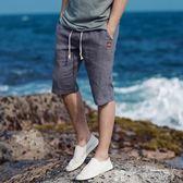 寬鬆休閒短褲復古中國風棉麻五分褲亞麻沙灘褲-可卡衣櫃