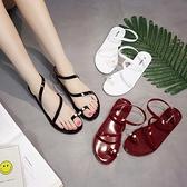 夏女韓新潮塑料平底平跟細帶夾趾夾腳珍珠防水辦公沙灘時尚涼鞋 - 風尚3C