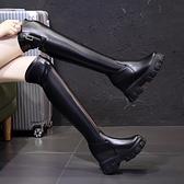 膝上靴 長靴女過膝高筒靴 新款顯瘦騎士靴 百搭英倫厚底內增高秋冬短靴 店慶降價