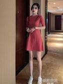 2020夏季韓版chic圓領收腰顯瘦純色百搭裙子仙女超仙森系洋裝女  韓語空間