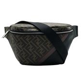 【台中米蘭站】全新品 FENDI 品牌LOGO帆布牛皮拼接斜背/腰包(7VA434-咖)