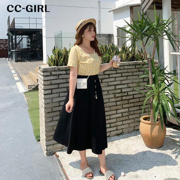 中大尺碼 方領短袖上衣~共兩色 - 適XL~4L《 68281 》CC-GIRL