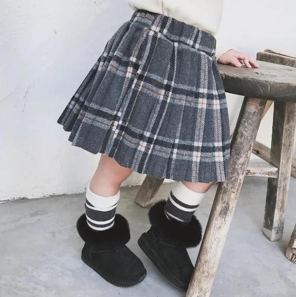 女童半身裙毛呢短裙學院風裙子兒童百褶裙秋冬【淘嘟嘟】