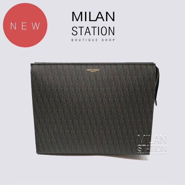 【台中米蘭站】全新品 YSL深咖啡滿版拉鍊手拿包
