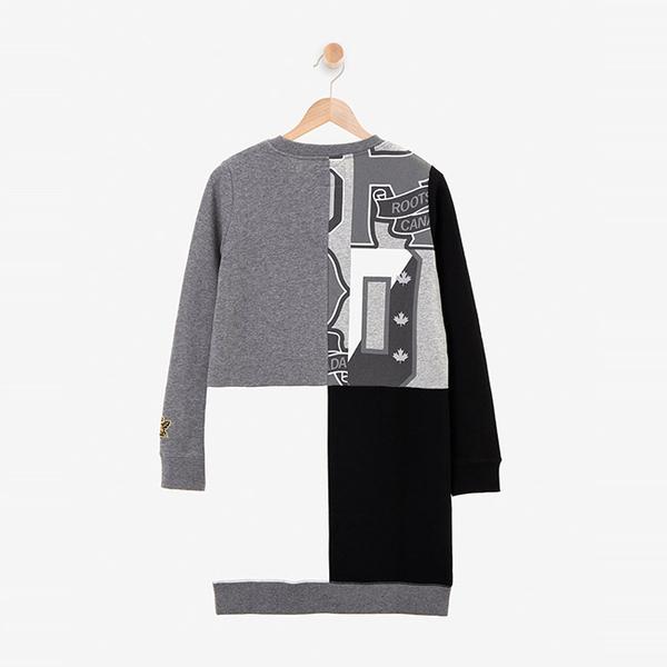 女裝ROOTS - 周年系列拼接刷毛洋裝-灰色