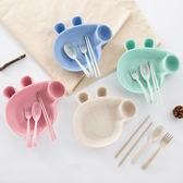 【小豬餐盤】四件套 韓系北歐環保無毒小麥秸稈 兒童餐具 學生餐盤組合4件組 附筷子湯匙叉子