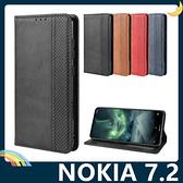 NOKIA 7.2 復古格紋保護套 磨砂皮質側翻皮套 隱形磁吸 支架 插卡 手機套 手機殼 諾基亞