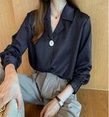 時尚  上衣 中大尺碼 M-4XL/8158新款韓版氣質襯衫女設計感小眾上衣長袖襯衣打底衫潮NE03-C韓依紡