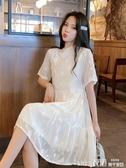 短袖洋裝刺繡漢服女立領旗袍改良版連身裙新款夏中國風盤扣短袖雪紡裙春季特賣