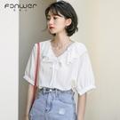 短袖襯衫 v領雪紡上衣女士早春夏季設計感小眾短袖白襯衫法式小衫減齡洋氣 韓國時尚週