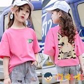 純棉女童短袖T恤夏季韓版寬鬆半袖兒童夏裝上衣【淘嘟嘟】