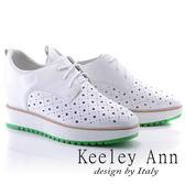 ★2018春夏★Keeley Ann街頭潮流~綁帶洞洞設計全真皮內增高休閒鞋(白色) -Ann系列
